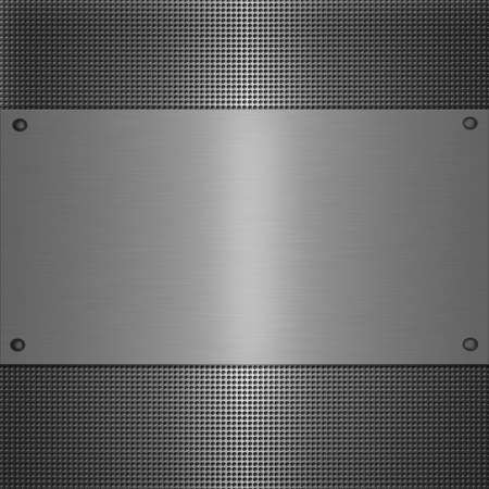 shiny metal plate on holed aluminium background Stock Photo - 8164282