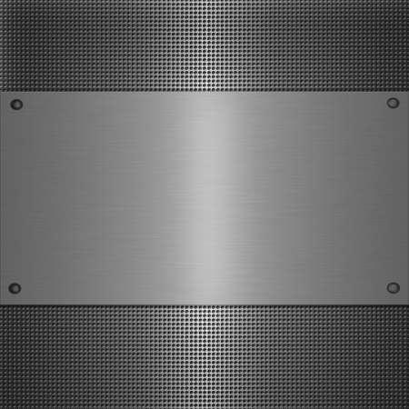 shiny metal plate on holed aluminium background Фото со стока