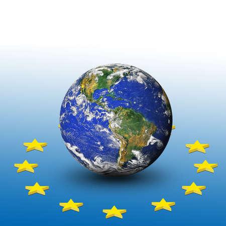 earth and European flag photo