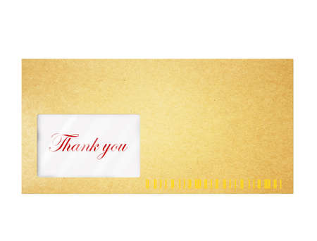 A envelope with thank you on white photo