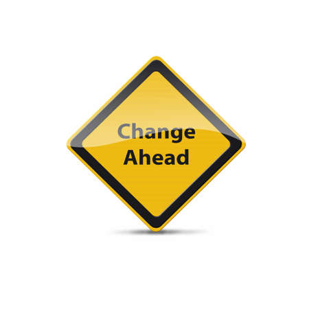 road ahead: change ahead sign Stock Photo