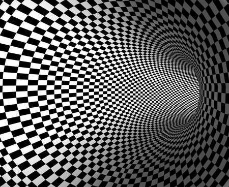 optical illusion: black and white tunnel Stock Photo