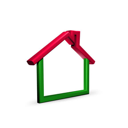 Red-green house on white photo