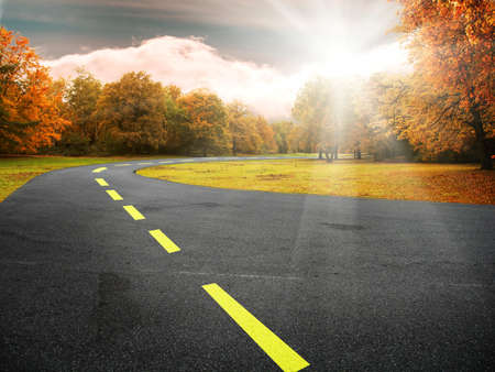 empedrado: carretera en coloridos �rboles en el Parque de oto�o Foto de archivo