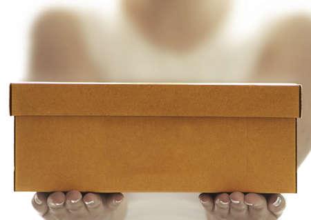 addressee: a brown box close up shot Stock Photo