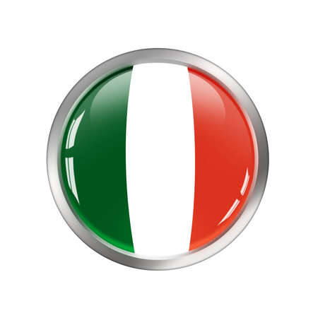 National Flag of Italy, button photo