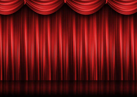 赤の劇場の幕 写真素材 - 9878480