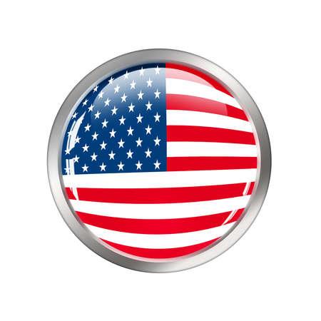 USA flag button over white  photo