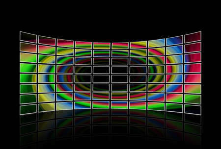 wall of tv sets displayed photo