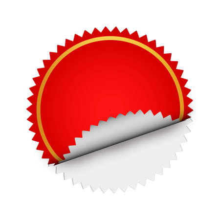 hamous: Round Red bent sticker Stock Photo