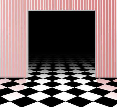 room door: floor pattern chess