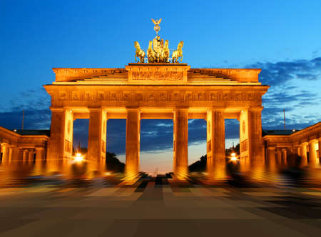 Brandenburg Gate in Berlin at night  photo