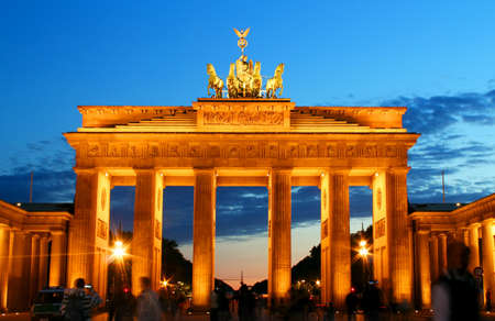 west gate: Brandenburg Gate in Berlin at night