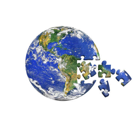 art piece: earth puzzle Stock Photo