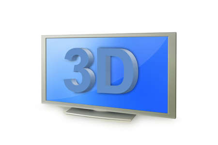 3D tv screen with 3D text photo
