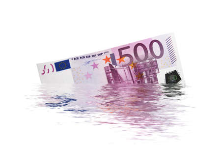 euro banknote: 500 euro banknote sinking into the water