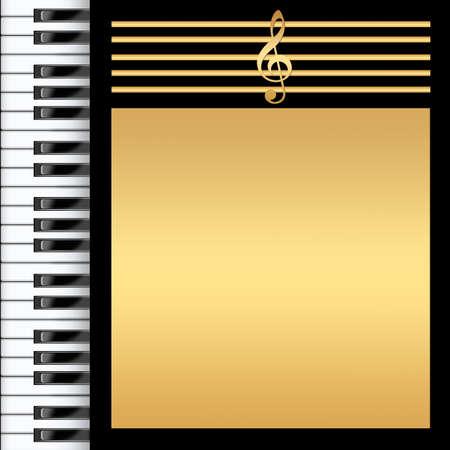 notes de musique: Clavier Piano Black et fond d'or Banque d'images