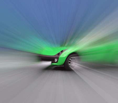 high angles: High speed blurred car