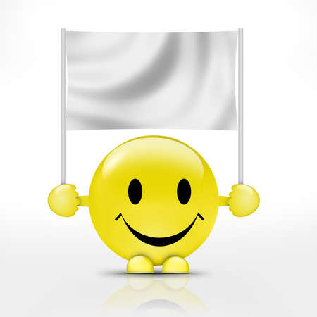 emotionality: Happy smiley with flag
