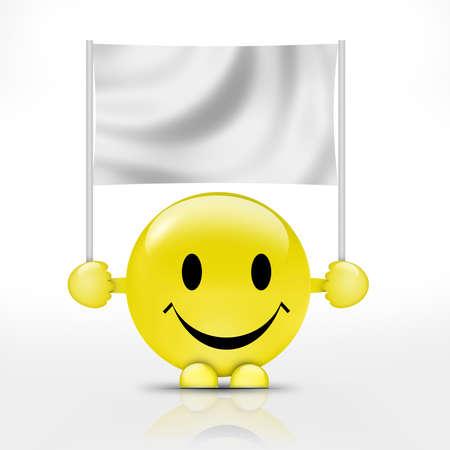 smiley content: Heureux smiley avec le drapeau