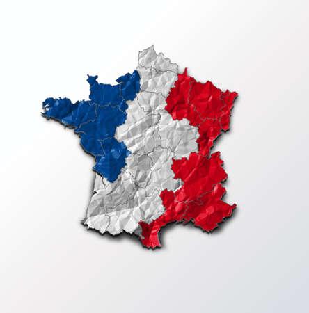 bandera francia: Bandera de Francia en el mapa del pa�s