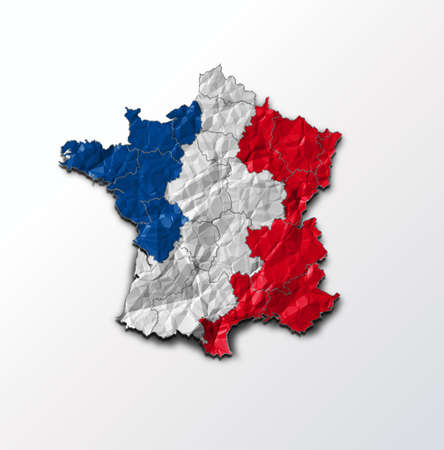 french flag: France flag on map of country Stock Photo