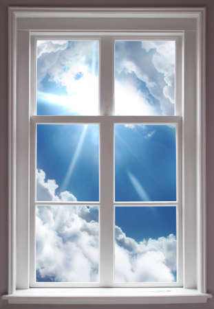 seem: Blue cloudy sky seem through a window Stock Photo
