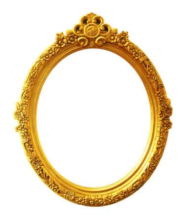 ovals: old antique gold frame Stock Photo