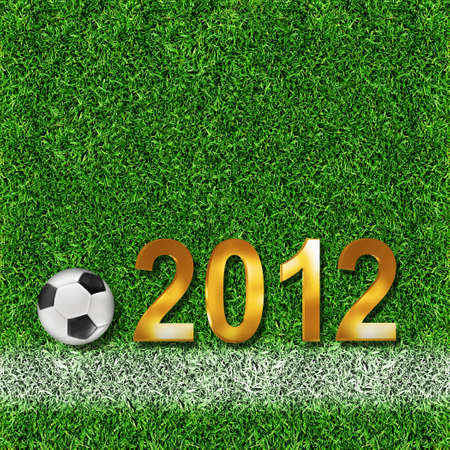 soccerball: 2012 sign and soccer-ball  Stock Photo