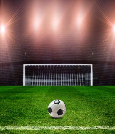 field  soccer: campo de f�tbol con una pelota Foto de archivo