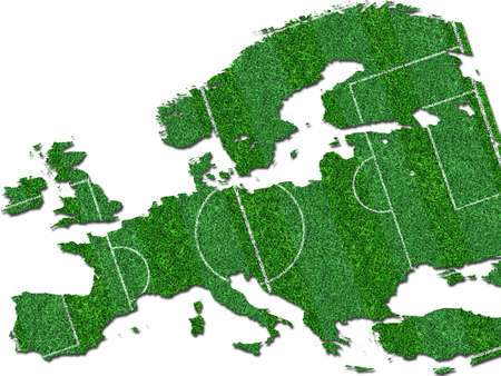 Europe map from green grass photo