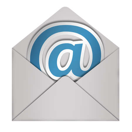 Envelope-E-Mail Zeichen auf weißem isoliert Standard-Bild - 14414255