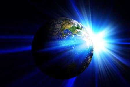 blauwe aarde in de ruimte met de rijzende zon
