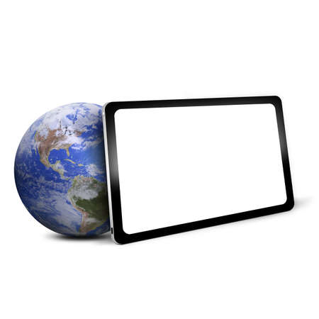 tablet PC with blue Earth  photo