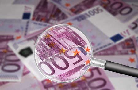 lupe: Euro banknotes Stock Photo