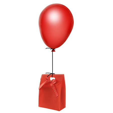 inflate: gift hanging on red balloon Stock Photo