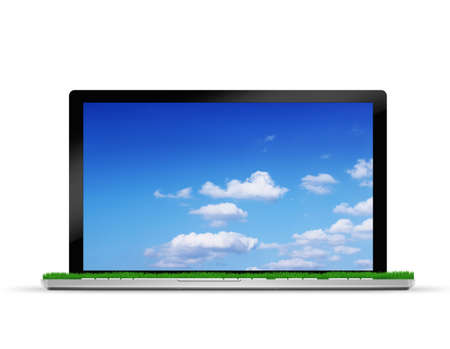 Laptop with  Grass Field and Sky photo