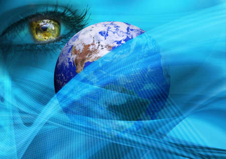 optical people person planet: earth, eye in space