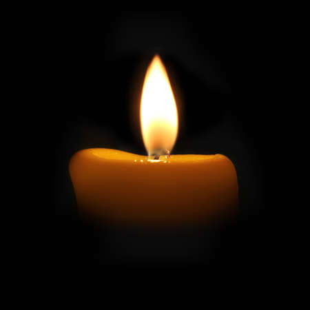 murk: yellow candle in a dark room