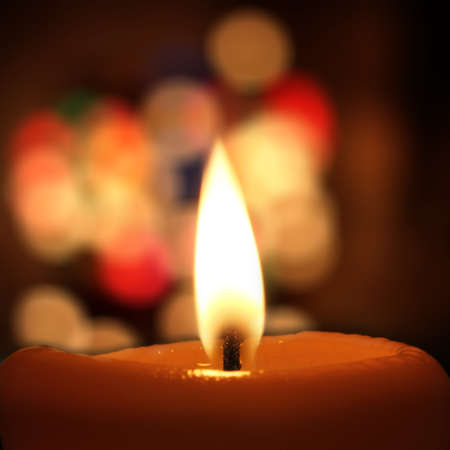 ramantic: yellow candle Stock Photo