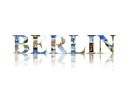brandenburg: Berlin written with photos Stock Photo