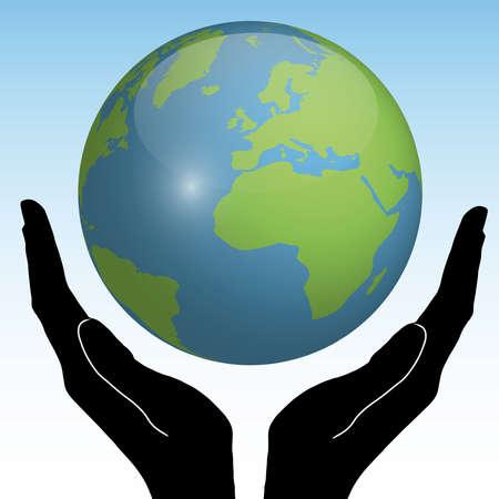 wereldbol groen: Aarde In Handen Stock Illustratie
