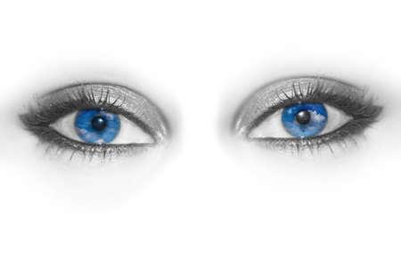 skie: blue eyes with sky