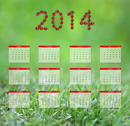 yearly: Yearly calendar 2014 in green Stock Photo