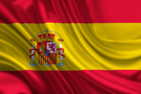red flag up: Waving flag of Spain Stock Photo