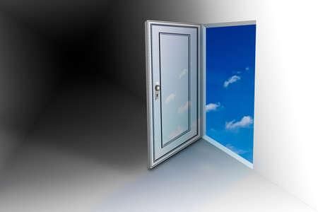 opens: Doorway opens to sky Stock Photo