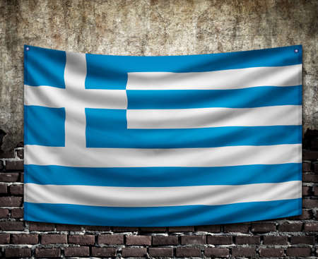 piktogramm:  flag of greece on old wall