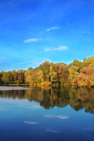 provincial forest parks: autumn trees reflecting in lake
