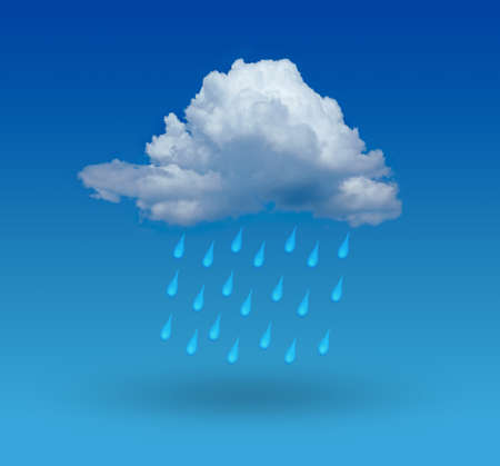 sprinkling: cloud with rain and blue background
