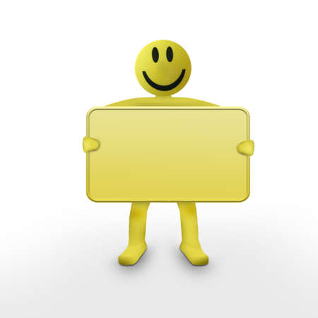smiley man holding a blank Stock Photo